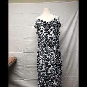 Mossimo summer dress black white floral size m